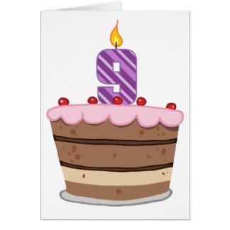 Age 9 on Birthday Cake Greeting Card
