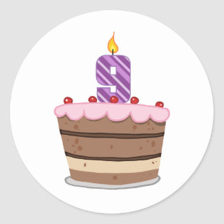 Age 9 on Birthday Cake Classic Round Sticker