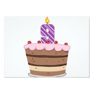 "Age 9 on Birthday Cake 5"" X 7"" Invitation Card"