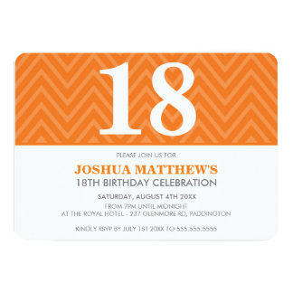AGE BIRTHDAY PARTY modern simple bold orange 5x7 Paper Invitation Card