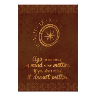 Age doesn't Matter brown elegant gold clock poster Photo Print