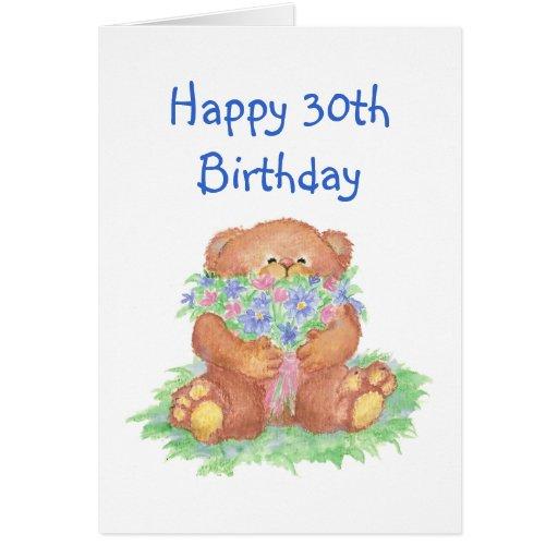 Age Humor 30th Birthday, Cute Teddy Bear Flowers Card