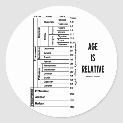 Age Is Relative (Geological Time Humor) Classic Round Sticker