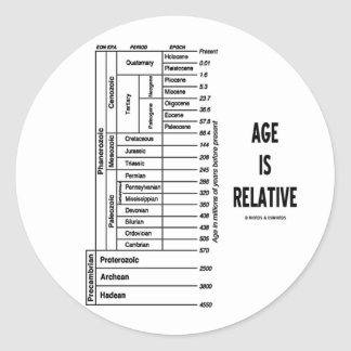 Age Is Relative (Geological Time Humor) Round Stickers