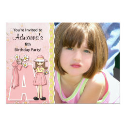 """Age & Name Specific """"A"""" Birthday Party Invitation"""