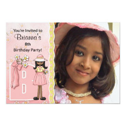 """Age & Name Specific """"B"""" Birthday Party (Ethnic) Card"""