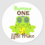 Age One 1st Birthday One Little Prince Cute Classic Round Sticker