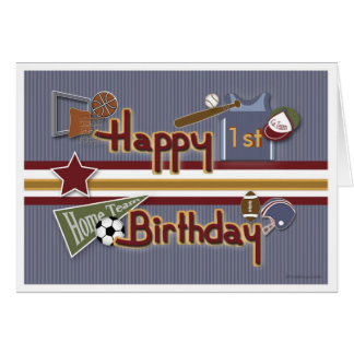 Age Specific All Sports Birthday Card Template