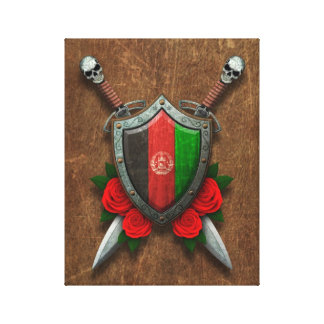 Aged Afghan Flag Shield and Swords with Roses Gallery Wrapped Canvas