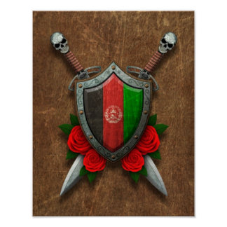 Aged Afghan Flag Shield and Swords with Roses Print