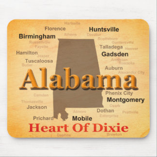Aged Alabama State Pride Map Silhouette Mouse Pad