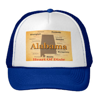 Aged Alabama State Pride Map Silhouette Trucker Hat