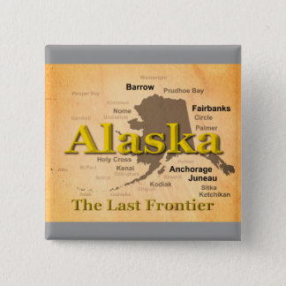 Aged Alaska Map Silhouette Button