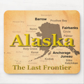 Aged Alaska Map Silhouette Mouse Pad