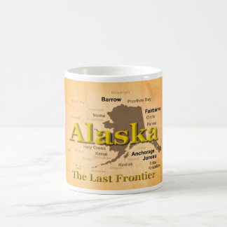 Aged Alaska State Pride Map Silhouette Coffee Mug