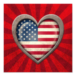Aged American Flag Heart with Light Rays Card