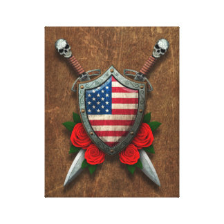 Aged American Flag Shield and Swords with Roses Stretched Canvas Prints