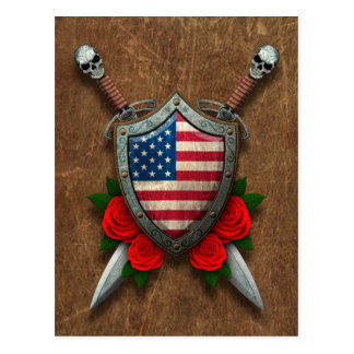 Aged American Flag Shield and Swords with Roses Postcard