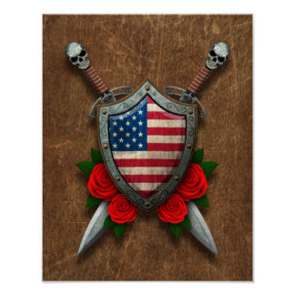 Aged American Flag Shield and Swords with Roses Posters