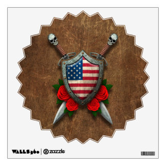 Aged American Flag Shield and Swords with Roses Room Graphics