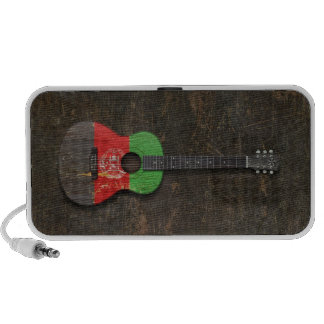 Aged and Scratched Afghan Flag Acoustic Guitar Portable Speakers