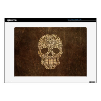 Aged and Scratched Swirling Sugar Skull Laptop Skin