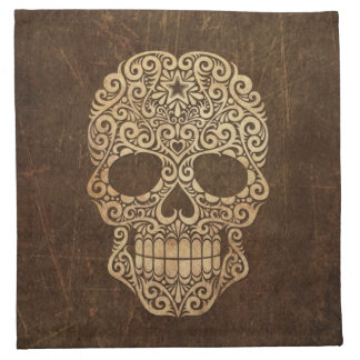 Aged and Scratched Swirling Sugar Skull Cloth Napkins