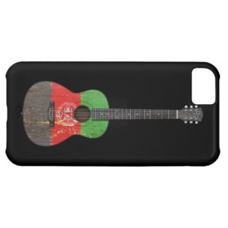 Aged and Worn Afghan Flag Acoustic Guitar, black iPhone 5C Cover