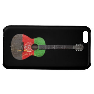 Aged and Worn Afghan Flag Acoustic Guitar, black Case For iPhone 5C