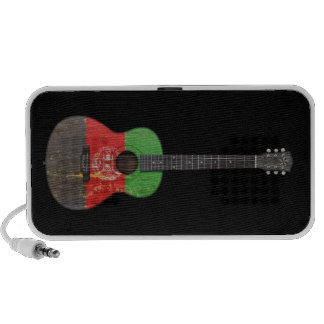 Aged and Worn Afghan Flag Acoustic Guitar, black Laptop Speaker