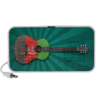 Aged and Worn Afghan Flag Acoustic Guitar, teal Portable Speakers