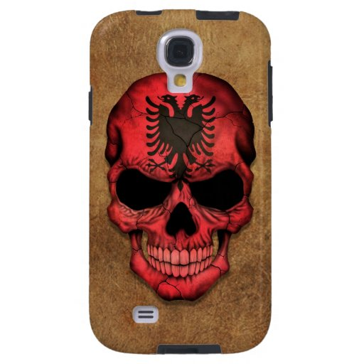 Aged and Worn Albanian Flag Skull Galaxy S4 Case