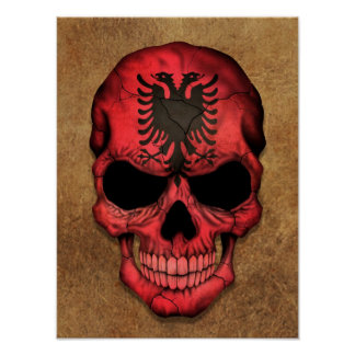 Aged and Worn Albanian Flag Skull Poster