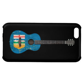 Aged and Worn Alberta Flag Acoustic Guitar, black iPhone 5C Cover