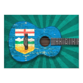 Aged and Worn Alberta Flag Acoustic Guitar, teal Card