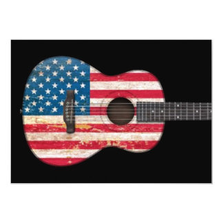 Aged and Worn American Flag Acoustic Guitar, black Personalized Invitations