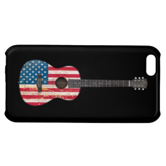 Aged and Worn American Flag Acoustic Guitar, black Case For iPhone 5C
