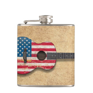 Aged and Worn American Flag Acoustic Guitar Hip Flask