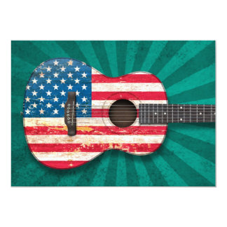 Aged and Worn American Flag Acoustic Guitar, teal 5x7 Paper Invitation Card