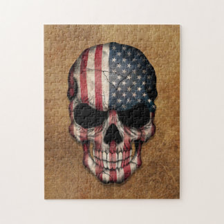 Aged and Worn American Flag Skull Jigsaw Puzzle