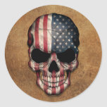 Aged and Worn American Flag Skull Classic Round Sticker