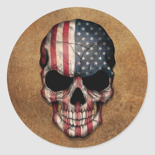 Aged and Worn American Flag Skull Round Stickers