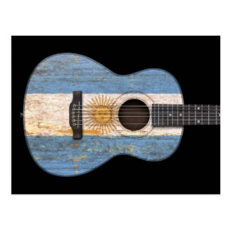 Aged and Worn Argentinian Flag Acoustic Guitar, bl Postcard