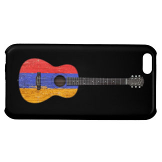 Aged and Worn Armenian Flag Acoustic Guitar, black Case For iPhone 5C