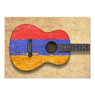 Aged and Worn Armenian Flag Acoustic Guitar Invitations