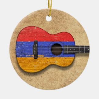 Aged and Worn Armenian Flag Acoustic Guitar Christmas Ornaments