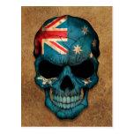 Aged and Worn Australian Flag Skull Postcards