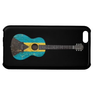 Aged and Worn Bahamas Flag Acoustic Guitar, black iPhone 5C Cases