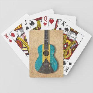Aged and Worn Bahamas Flag Acoustic Guitar Card Deck
