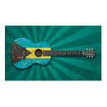 Aged and Worn Bahamas Flag Acoustic Guitar, teal Business Card Template
